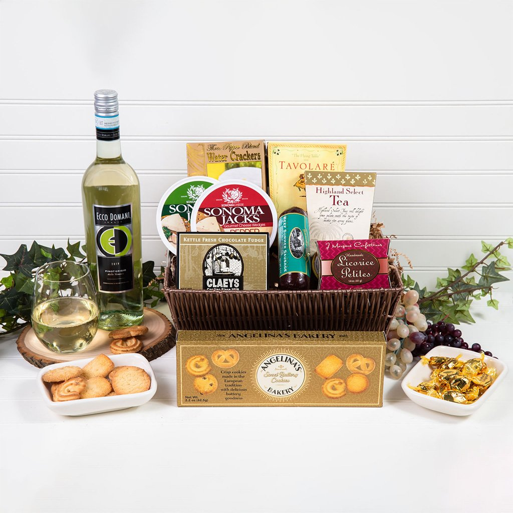 Tasteful Greetings Wine Gift Basket