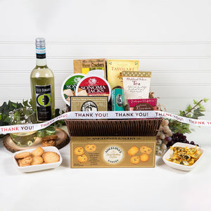Tasteful Greetings Happy Thank You Wine Gift Basket