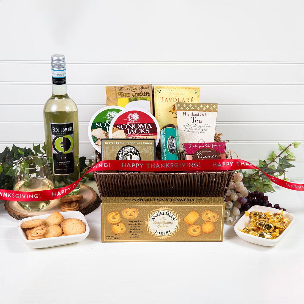 Tasteful Greetings Happy Thanksgiving White Wine Gift Basket - GiftBasket.com - Gift Basket