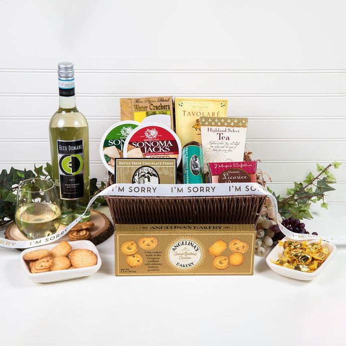 Tasteful Greetings I'm Sorry White Wine Gift Basket - GiftBasket.com - Gift Basket