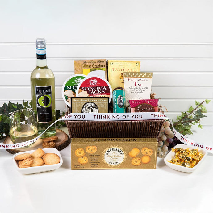 Tasteful Greetings Thinking of You Wine Gift Basket