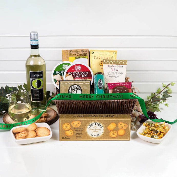 Tasteful Greetings Merry Christmas Wine Gift Basket