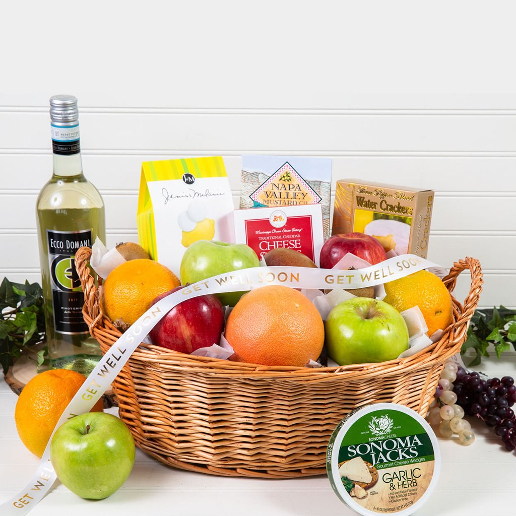 Delicious Delights Gourmet Get Well White Wine Gift Basket - GiftBasket.com - Gift Basket