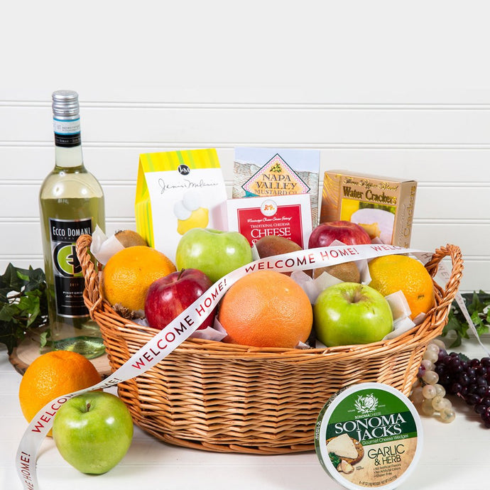 Delicious Delights Gourmet Welcome Home White Wine Gift Basket - GiftBasket.com - Gift Basket