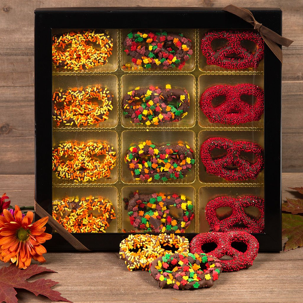 Festive Fall Chocolate Covered Pretzels Gift Box