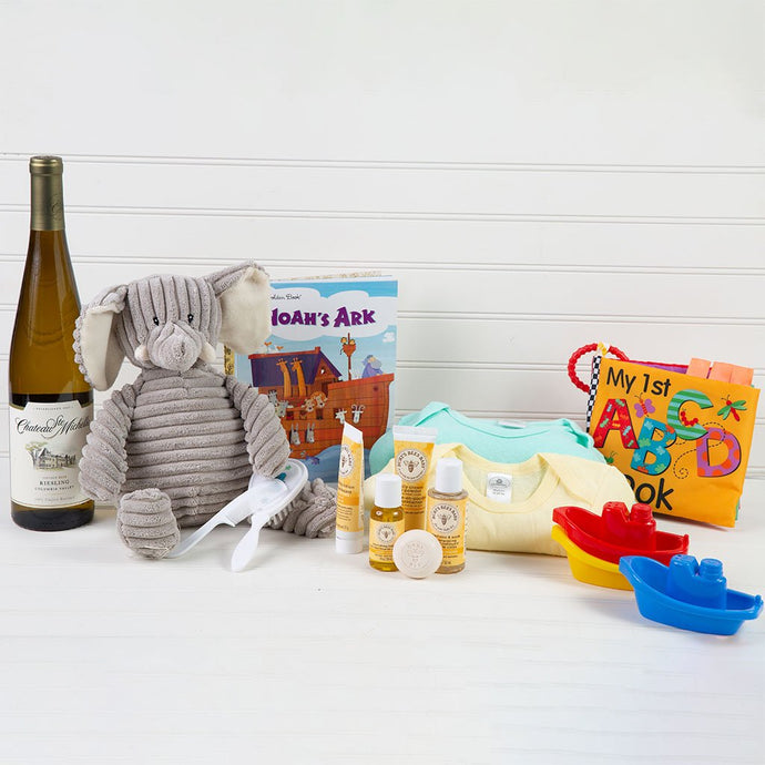 The Baby Ellie Newborn Wine Gift Basket