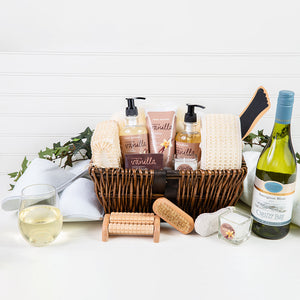 The Essentials Home Spa Basket With White Wine - GiftBasket.com - Gift Basket