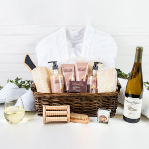 Epitome of Luxury Spa White Wine Basket