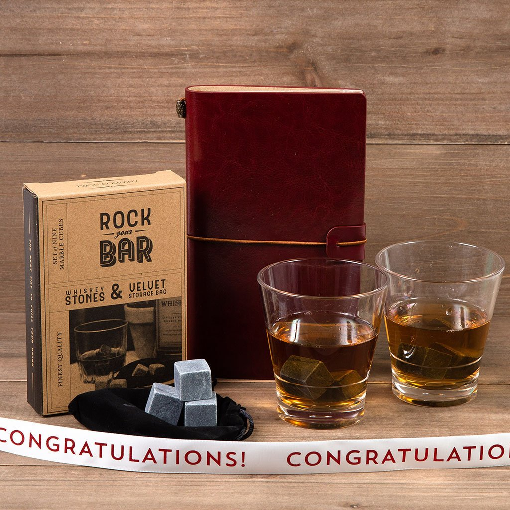 Whiskey on the Rocks Congratulations Gift Set - GiftBasket.com - Gift Set