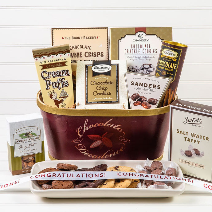 Deliciously Decadent Chocolate Congratulations Gift Basket - GiftBasket.com - Gift Basket