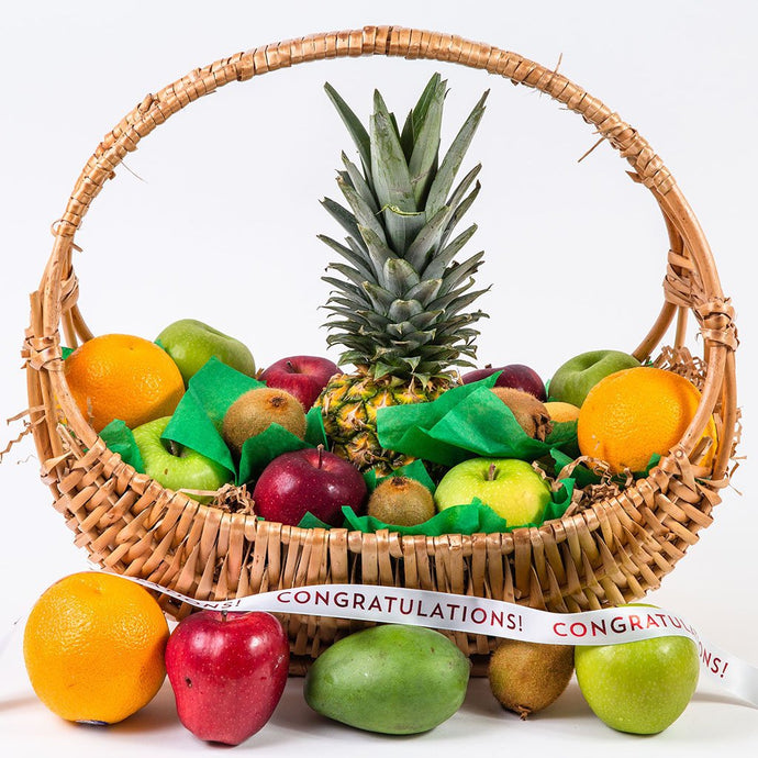 Happy, Healthy, and Delicious Fruit Congratulations Gift Basket - GiftBasket.com - Gift Basket