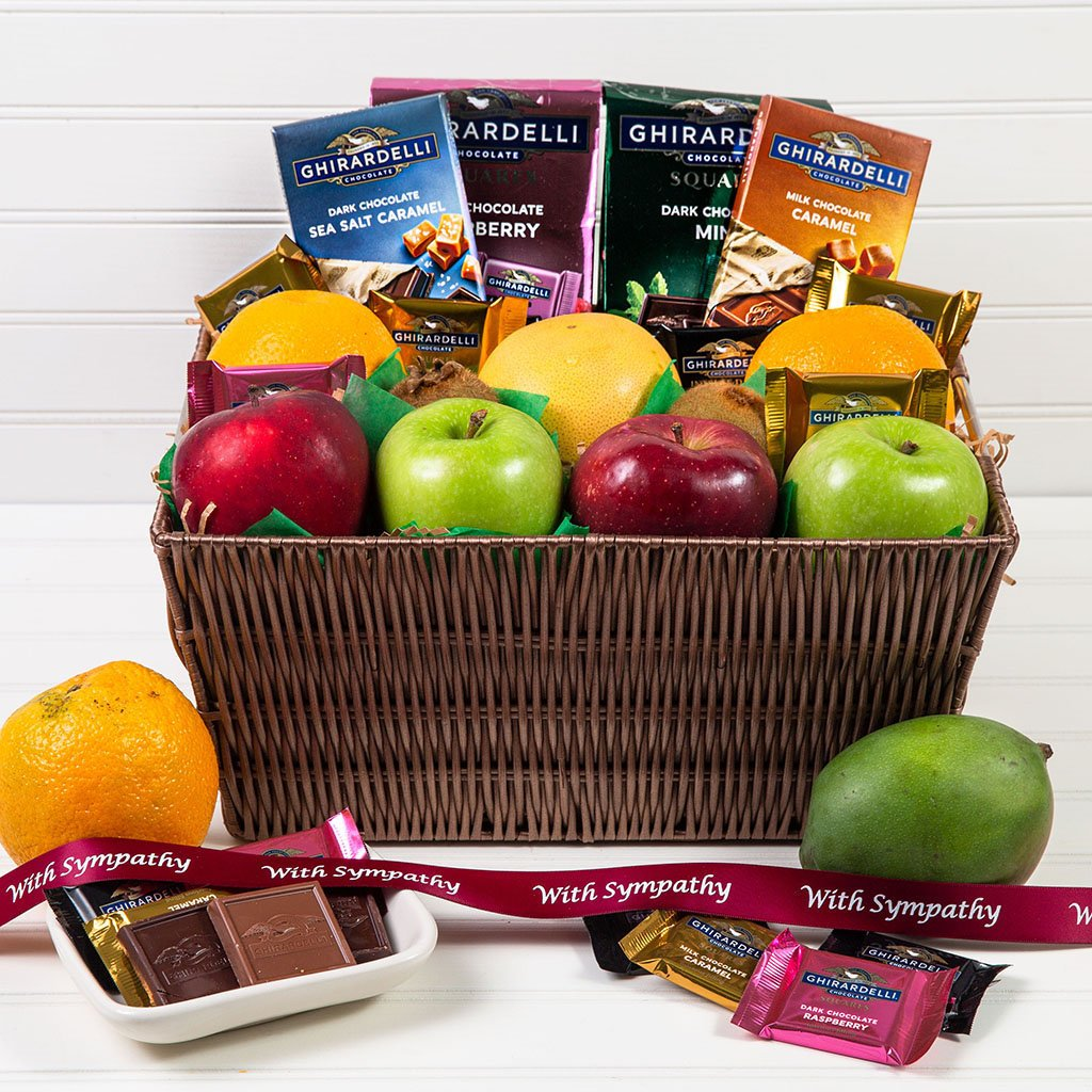 Heavenly Fruit and Chocolate Sympathy Gift Basket - GiftBasket.com - Gift Basket