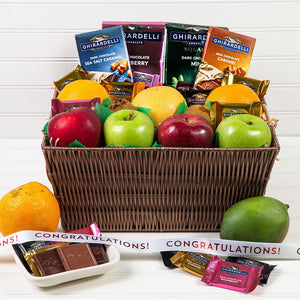 Heavenly Fruit and Chocolate Congratulations Gift Basket
