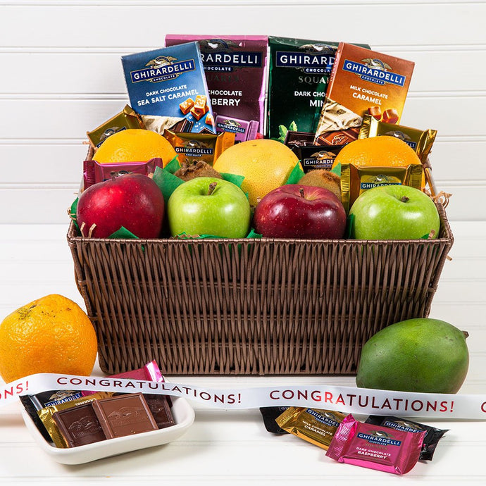Heavenly Fruit and Chocolate Congratulations Gift Basket - GiftBasket.com - Gift Basket