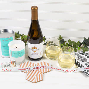 Welcome Home Happy Holidays White Wine Gift Set - GiftBasket.com - Gift Set