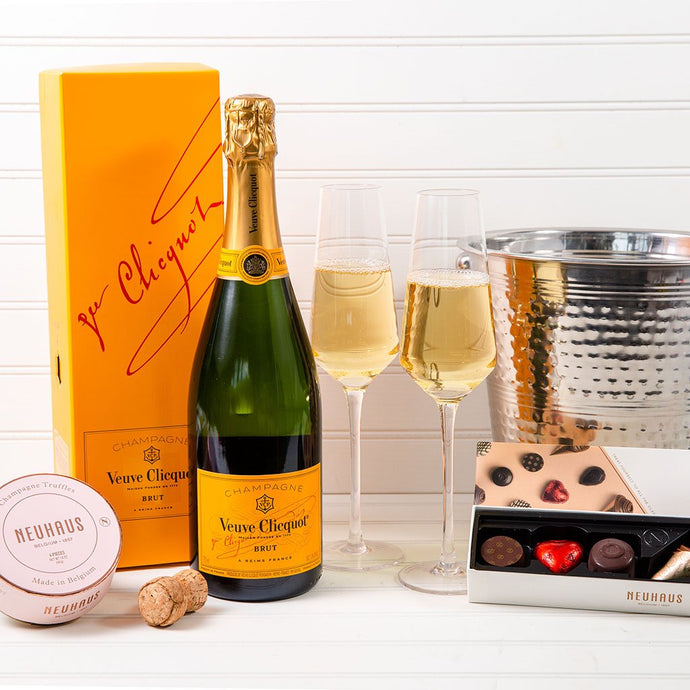 Pop The Bubbly Veuve Clicquot Champagne Chocolate Set - GiftBasket.com - Gift Set