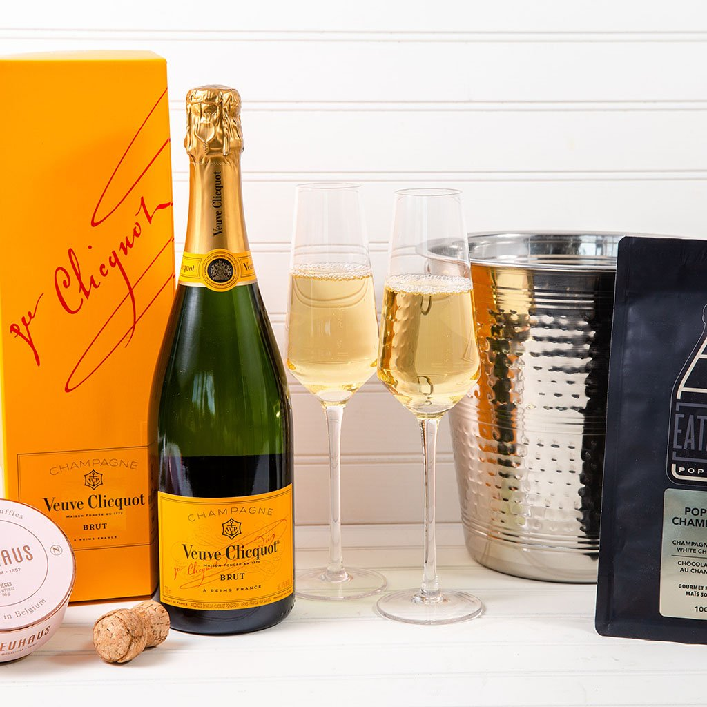 Champagne Gift Basket - Chill The Bubbly Veuve Clicquot Champagne Sweets Gift Set | Gourmet Gift Baskets by GiftBasket.com
