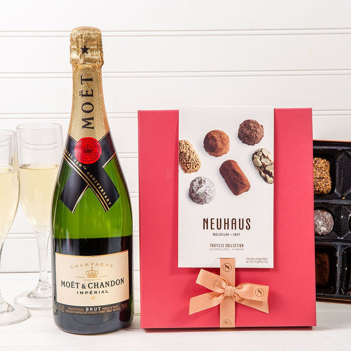 Moet & Chandon Celebration Champagne Set with Chocolate - GiftBasket.com - Gift Set