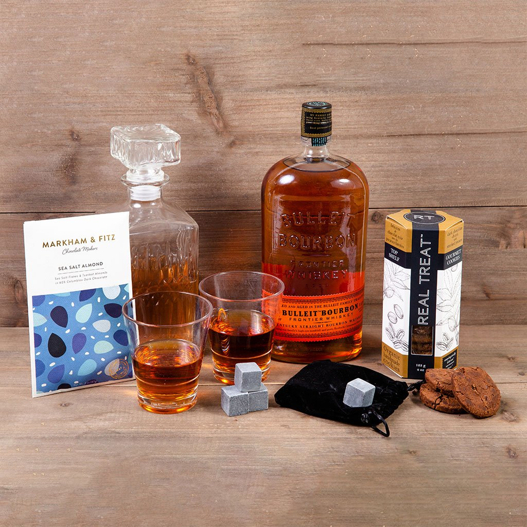 Whiskey Appreciation Tasting Room with Bulleit Bourbon Frontier Whiskey - GiftBasket.com - Gift Set