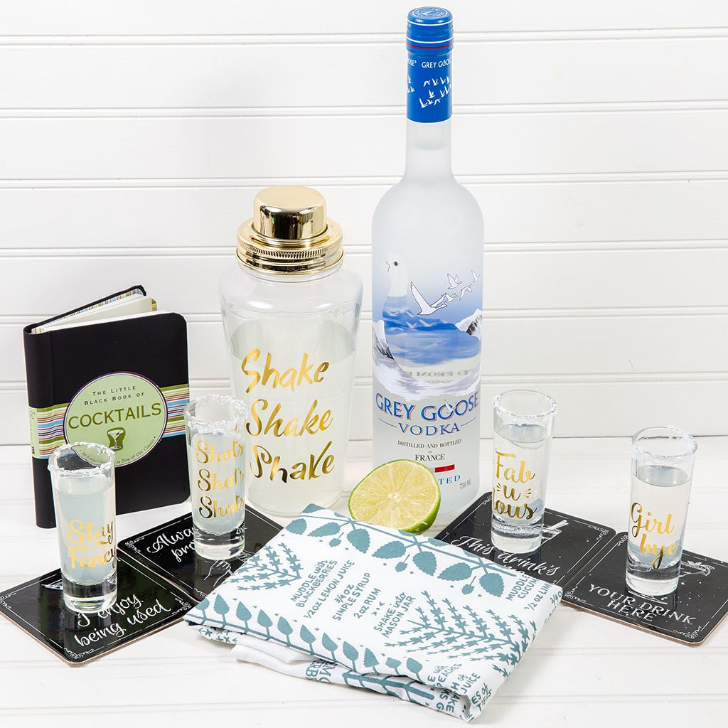 Happy Hour Cocktails Gift Set Grey Goose Vodka Set - GiftBasket.com - Gift Set
