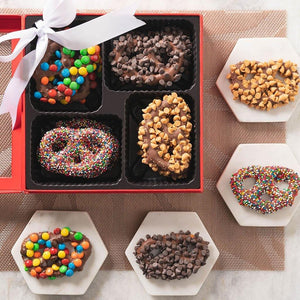 Gourmet Chocolate Covered Pretzels Red Gift Box - GiftBasket.com - Gift Basket