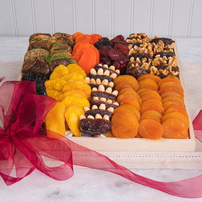Kosher Certified Delectable Dried Fruit and Nuts Gift Box - GiftBasket.com - Gift Box