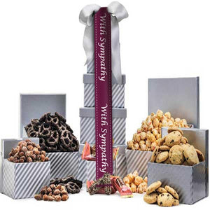 Silver & White Sympathy Tower - GiftBasket.com - Gift Tower