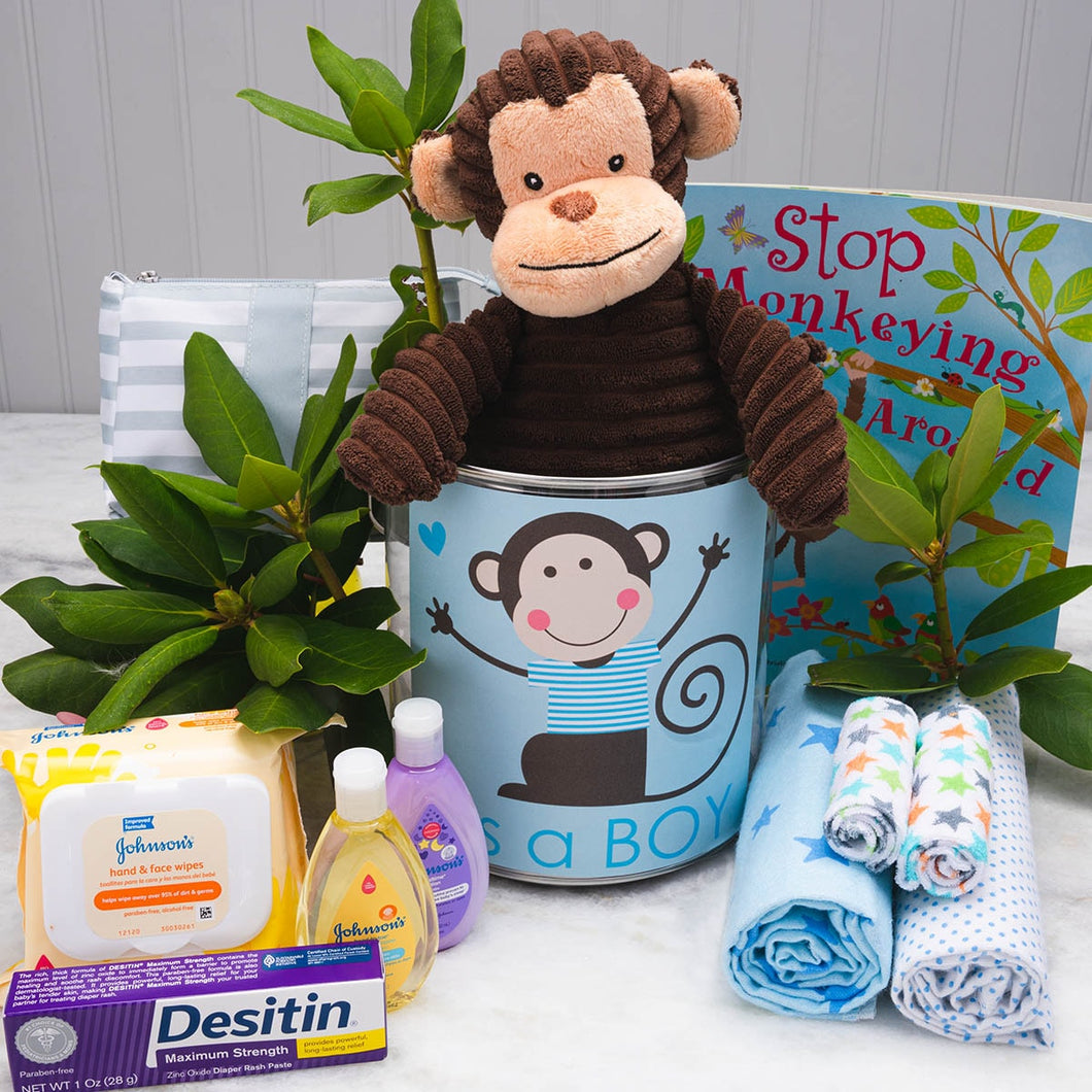 Barrel of Monkeys Baby Gift Basket...It's a Boy! - GiftBasket.com - Gift Tin