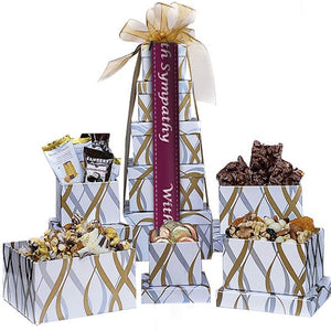White and Gold Sympathy Snack Tower - GiftBasket.com - Gift Tower