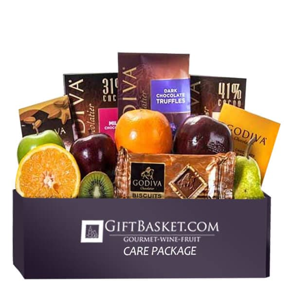 Care Package Godiva Fruit Combo Basket - GiftBasket.com - Care Package