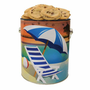 Beach Lovers Cookie Tin- 1 Gallon - GiftBasket.com - Gift Tin