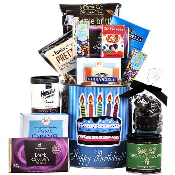 Happy Happy Birthday Snack Tin - GiftBasket.com - Gift Tin
