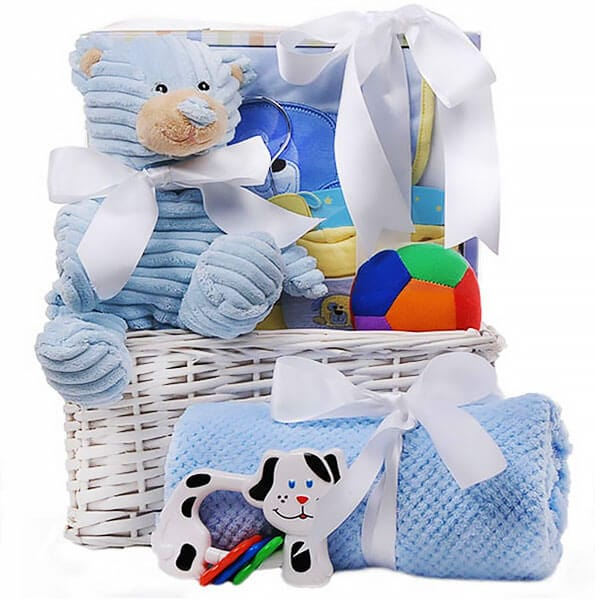 My Cuddly Blue Teddy Gift Basket