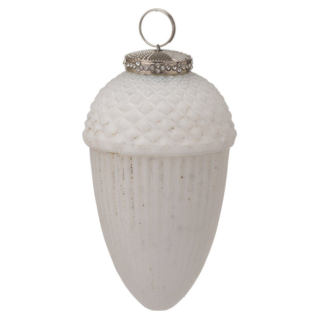White Large Hanging Acorn Bauble | The Noel Collection