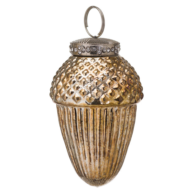 Burnished Large Hanging Acorn Bauble | The Noel Collection