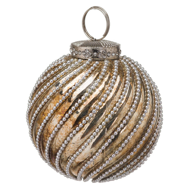 Medium Burnished Jewel Swirl Bauble | The Noel Collection