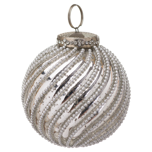 Silver Jewel Swirl Bauble | The Noel Collection