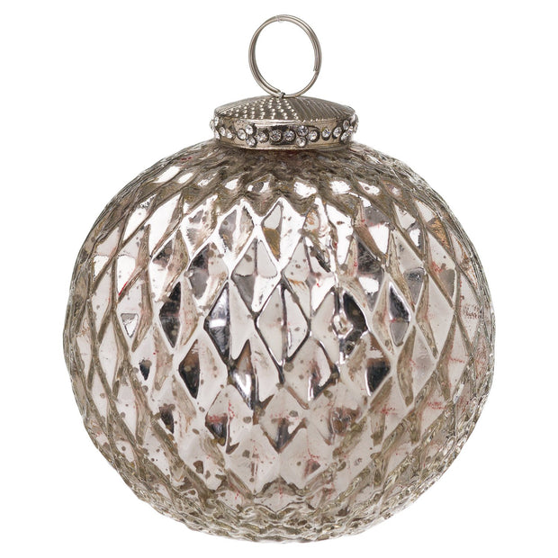 Silver Honeycomb Bauble | The Noel Collection