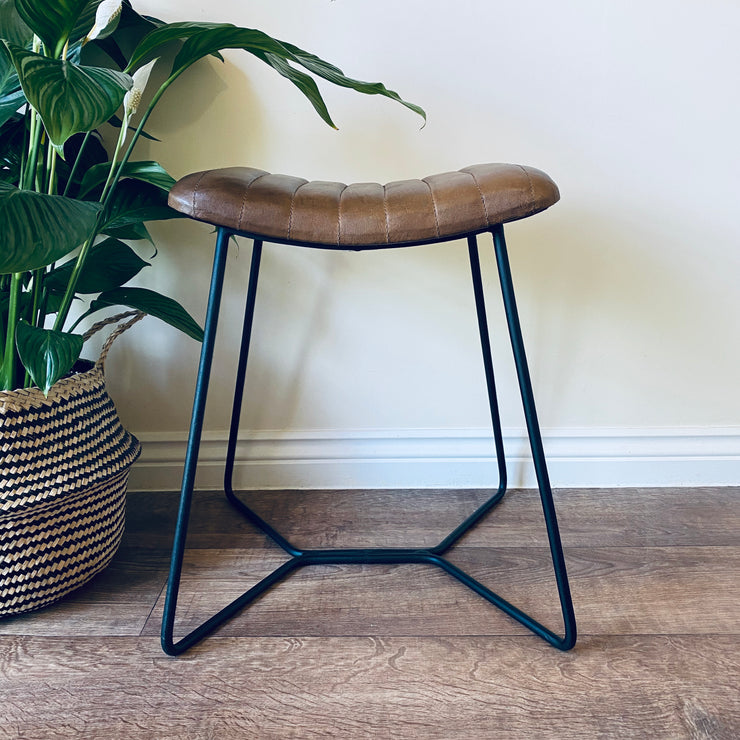 Leather and Iron Stool