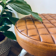 Industrial Metal and Quilted Leather Stool