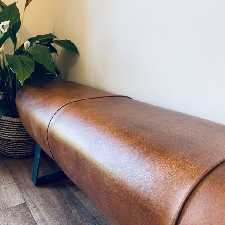 Leather Pommel Dining Bench