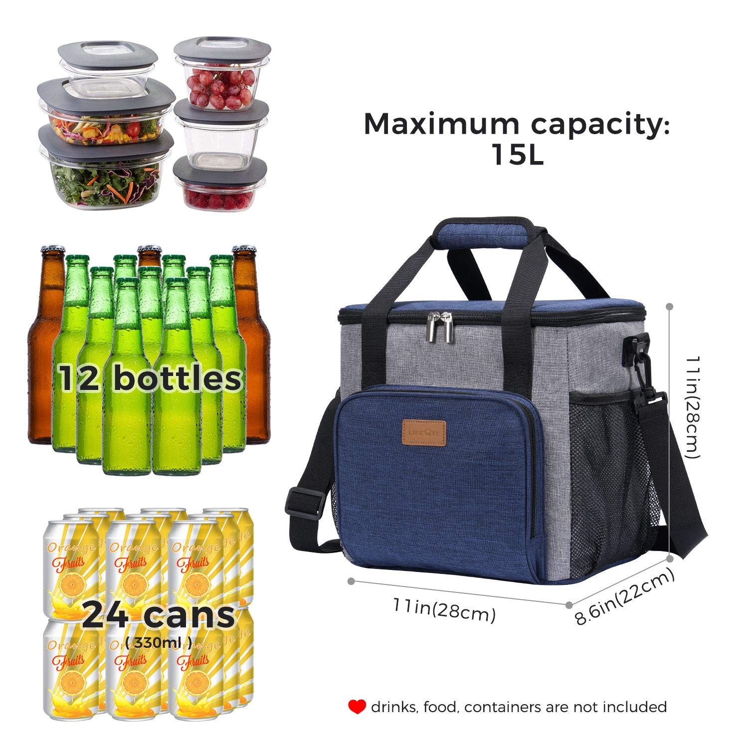 24-Can Soft Cooler Bag Insulated Large Lunch Box Cooler Bag for Men 15L
