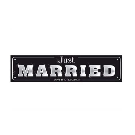 "Schild ""Just Married"" - schwarz"