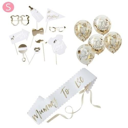 Deko Set Babyshower Party - S (16 - teilig) - Ja-Hochzeitsshop