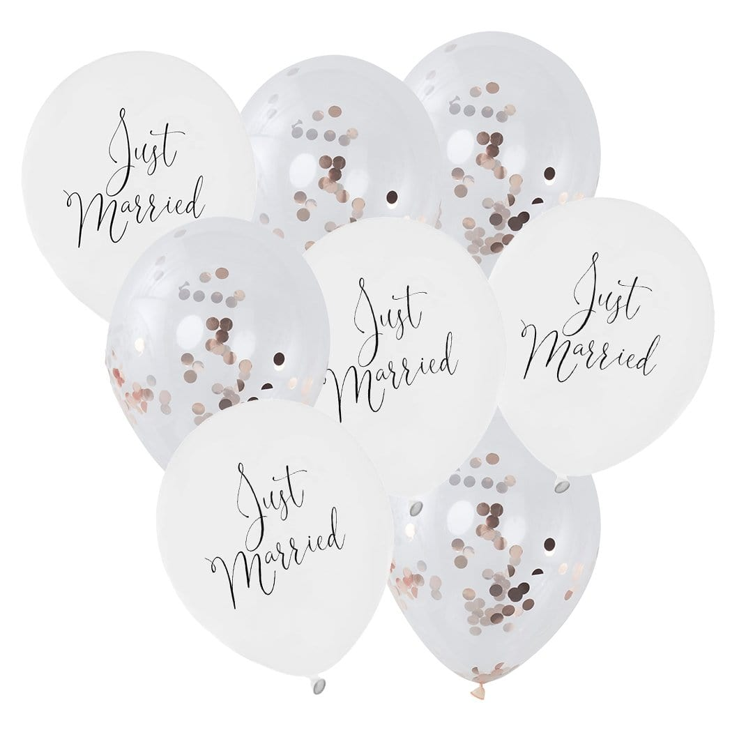 Ballon Deko Set Konfettiballons Just married rosegold (15-teilig) - Ja-Hochzeitsshop