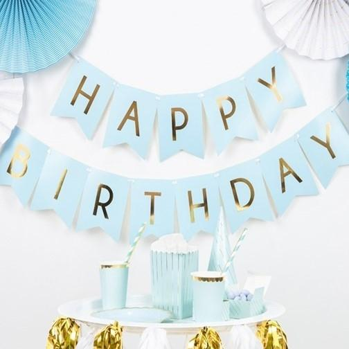 Girlande Happy Birthday blau / gold - Ja-Hochzeitsshop