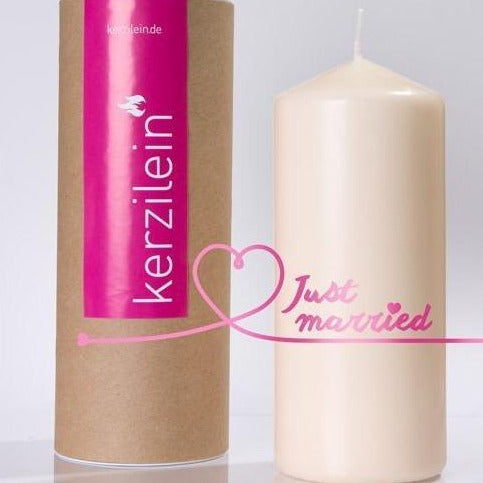 "Flamme ""Just Married"" - pink - Ja-Hochzeitsshop"