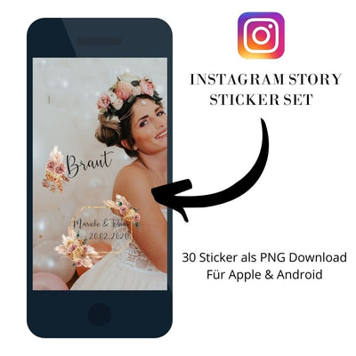 Personalisiertes Instagram Story Sticker Set Pampas Gras (30 Sticker)  - Ja-Hochzeitsshop