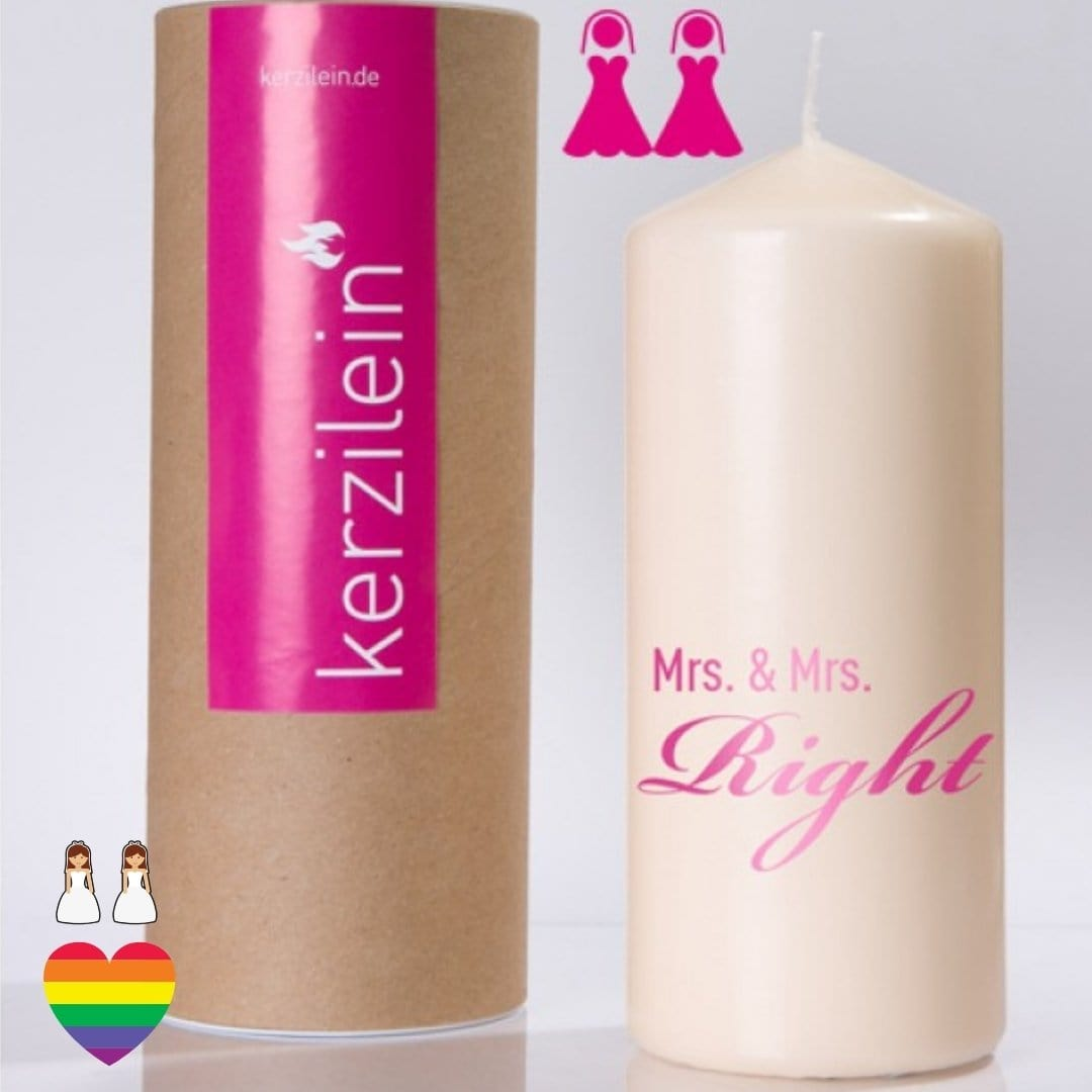 "Flamme ""Mrs. & Mrs. Right"" - pink - Ja-Hochzeitsshop"