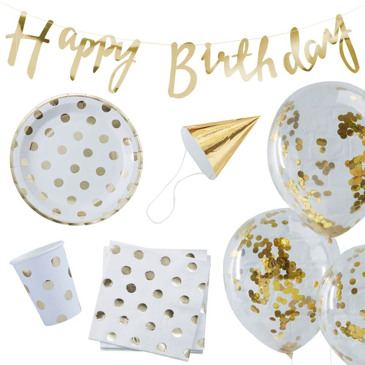 "Partybox ""Happy Birthday"" - gold Dots (70 Teile) - Ja-Hochzeitsshop"